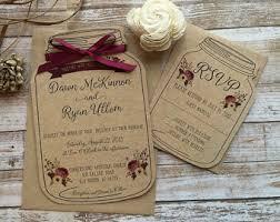 Rustic Wedding Invitation Mason Jar Shabby Chic Barn