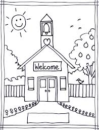 School House Coloring Pages For Kids Welcome Happy Day