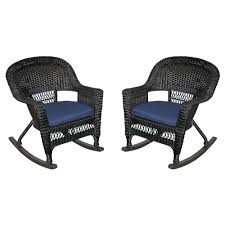 Jeco W00201R-A_2-FS011 Rocker Wicker Chair With Blue Cushion, Set Of 2,  Espresso