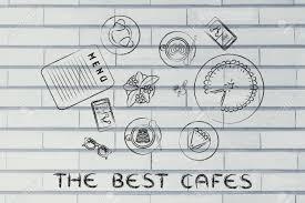 die besten cafés tisch mit ü essen kuchen telefon und kaffee flache illustration