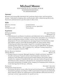 Payroll Admin HR Representative Customize Resume View
