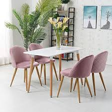 ofcasa esszimmerstühle 4 stück samt stühle küchenstuhl polsterstuhl 4er set wohnzimmer stuhl sessel restaurant hotel möbel rosa grau hellblau 4 rosa