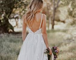 Sample SALE Gillian Lace Bohemian Wedding Dress Cotton With OPEN BACK Boho