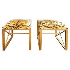 Port 68 Medallion Gold Le Tigre Natural Benches Set Animal Prints