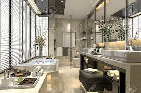 modernes klassisches badezimmer der wiedergabe 3d mit luxusfliesendekor mit schöner aussicht vom fenster