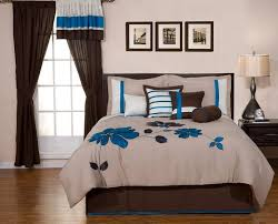 8 Pieces Oversize Blue And Brown Flower Comforter Bed In A Bag Set Queen Size Bedding By Selma