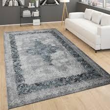 teppich für wohnzimmer vintage kurzflor mit orient design meliert grau türkis