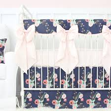 berkeley s navy blush floral bumperless crib bedding caden lane