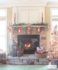 I Love All The Vintage And Rustic Christmas Decor She Used To Decorate This Gorgeous Stone Our Fireplace