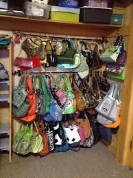 organizing my purses i use 3 curtain rods 7 00 ea family