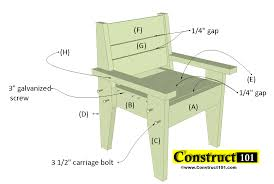 10x12 Gambrel Shed Material List by Outdoor Chair Plans Easy To Build Free Pdf Construct101