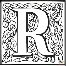 Download Coloring Pages Letter R With Ornament Page Free Printable