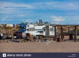 An Old Trailer Home Is Highly Decorated As Installation Art Piece In The Settlement Of Slab City Mojave Desert