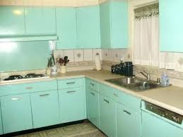 1960s Kitchen Metal Cabinets Turquoise Birch Painted