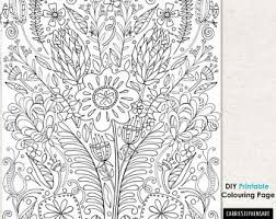 Flower Coloring Page Adult Colouring Printable Floral Print Design Wall Art