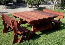 wood picnic table kits redwood outdoor picnic tables