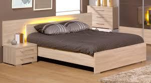 lit de chambre lit adulte contemporain avec éclairage coloris chêne lit