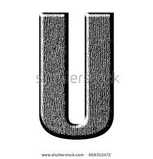 Shiny Rough Black Wood Grain Textured Uppercase Or Capital Letter U In A 3D Illustration With