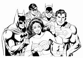 Batman Batgirl Robin Superman Wonder Women Superheroes Coloring Pages