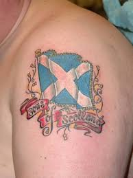 Son Of Scotland With Scottish Tattoo On Shoulder