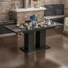 esstisch tisch esszimmertisch küchentisch säulentisch ausziehbar schwarz hochglanz