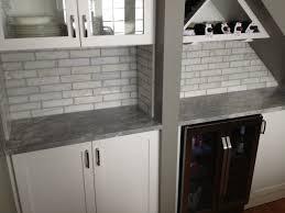 2x8 subway tile backsplash 2x8 marble tile backsplash we installed in a home in chicago