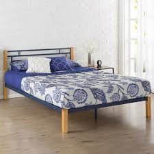 Priage Blue Metal and Wood Platform Bed Free Shipping Today