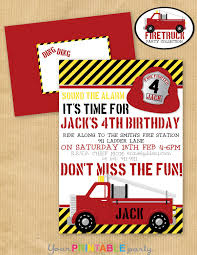 Boys Fire Truck BIRTHDAY Party Invitation5 By YourPrintableParty ...