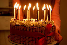 chocolate birthday cake with candles 13