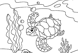 Turtle Coloring Pages Underwater
