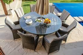 Maze Rattan LA 8 Seat Round Garden Dining Set With Ice Bucket