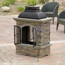 Outdoor Chiminea Natural Stone Fireplace Wood Burning Stove