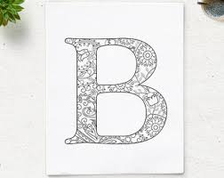 SALE Instant Download Printable Coloring Page Floral Alphabet Letter B Digital Art Zen
