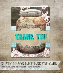 Rustic Mason Jar Thank You Card Digital Download