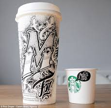 Unusual Art Mr Draper Sources His Cups From High Street Coffee Chains Including Starbucks And