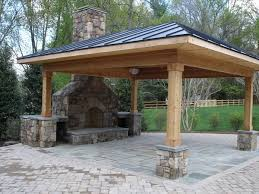 Outdoor Fireplace Covered Patio Fireplace and Outdoor Kitchen