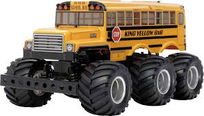 100 Rc Tamiya Trucks King Yellow 6x6 Bus Brushed 118 RC Model Car Electric