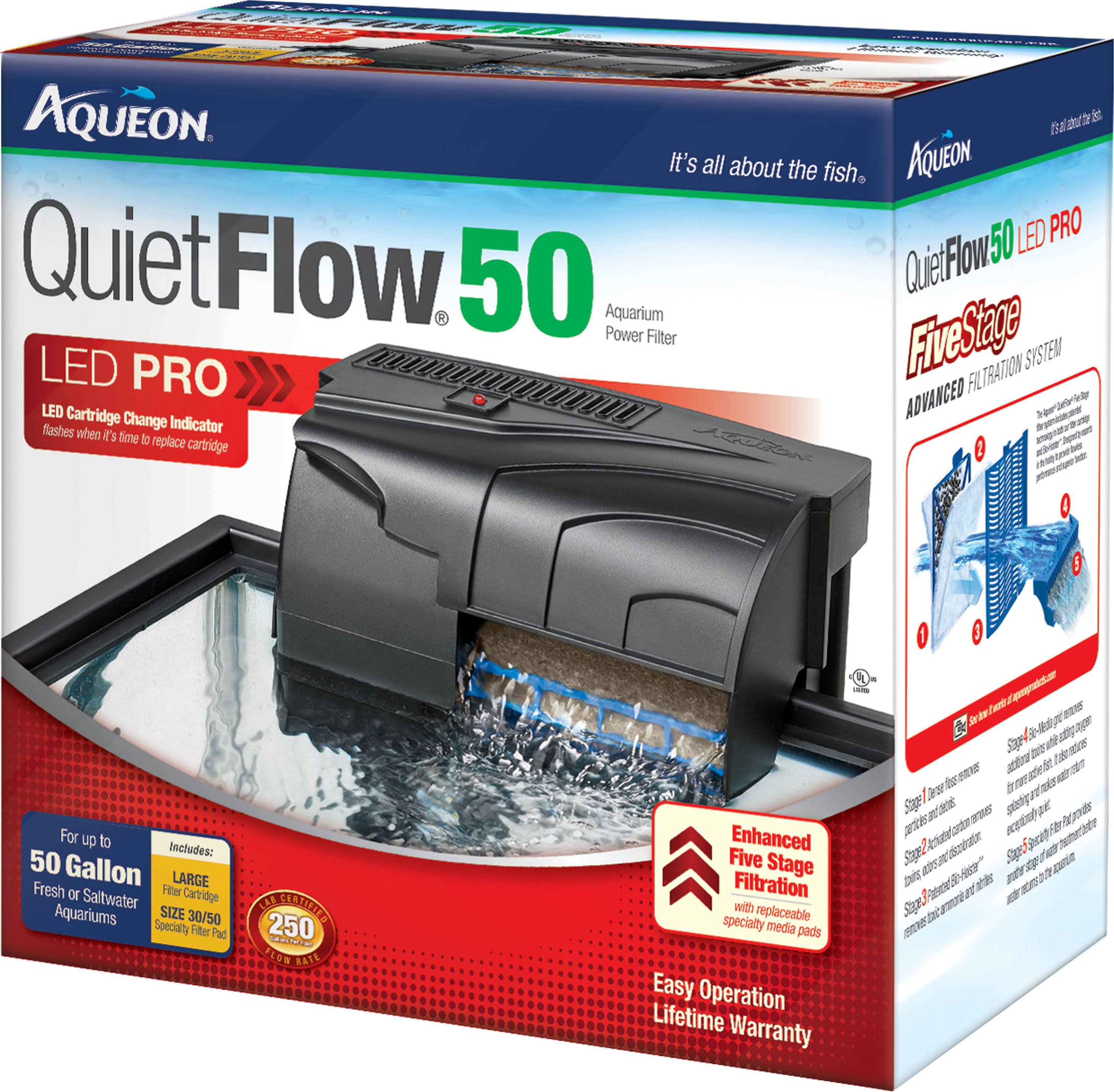 Aqueon QuietFlow LED Pro Aquarium Power Filter - 50gal, 250gph