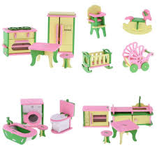 Amazoncom WEEKEND SHOP Pretend Play Toys 4 Sets Wooden Doll House