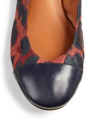 lanvin leopard print cotton u0026 leather ballet flats in red lyst