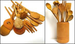 set 11 vintage hand carved wooden spoon mixing spoons handmade
