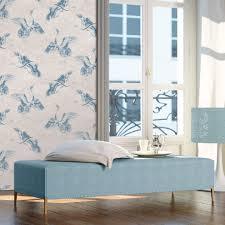 a s création vliestapete linen style tapete mit vögeln blau grau
