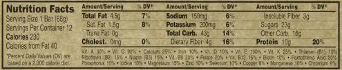 Clif Bar Food Label