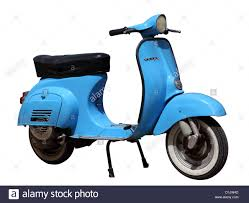 Blue Vintage Vespa Scooter Isolated Over White Background