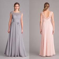 silver grey long bridesmaid dresses 2017 scoop neck cap