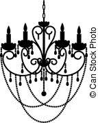 Black Silhouette Of Chandelier With Beads