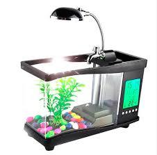 usb acryl mini aquarium aquarium led beleuchtung licht mit wecker für wohnzimmer schlafzimmer schreibtisch dekoration zubehör buy usb acryl mini