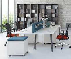 travail en bureau ogi a bureau en îlots 4 postes de travail 160 cm noyer
