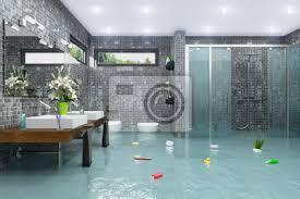fototapete überschwemmtes modernes badezimmer bad dusche wasserschaden