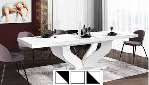 design esstisch tisch heb 222 weiß hochglanz ausziehbar 160 bis 256 cm